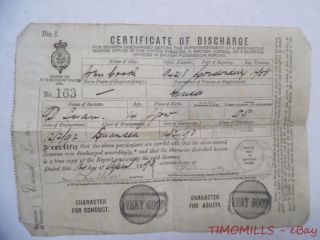 1893 British Mercantile Marine Certificate Of Discharge For 14 Year Old Sailor photo