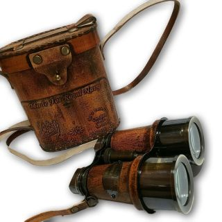 Antique Brass Binocular With Leather Box. photo