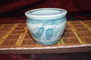 Vintage Asian Pink Blue Green And White Floral Porcelain Planter 6