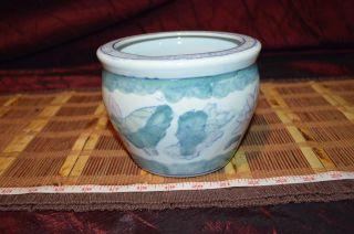 Vintage Asian Pink Blue Green And White Floral Porcelain Planter 6