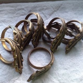 Antique Curtain Rings French Ormolu Fittings 16 Pc Chateau Decorative Antiques photo