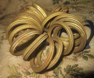 Antique French Chateau Ormolu Toleware Curtain Rings X 18 photo