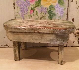Vintage Primitive Cottage Chic Chippy Painted Wood Farmhouse Milking Stool photo