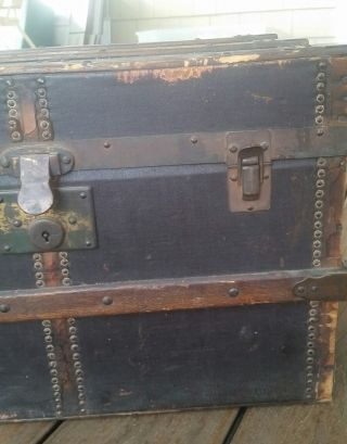 Small Antique Americal Steamer Trunk Victorian Flat Top Chest Wood Inserts Doll photo