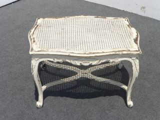 Vintage French Provincial White Cane Coffee Table Country Cottage Farmhouse Chic photo