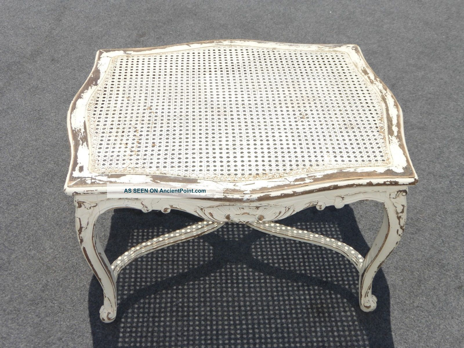Vintage French Provincial White Cane Coffee Table Country Cottage Farmhouse Chic