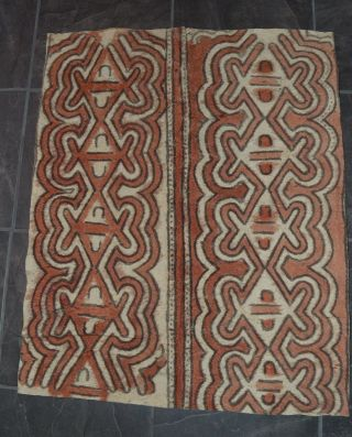 Vintage Traditional Tapa Bark Cloth Oro Province Guinea Hand Painted photo