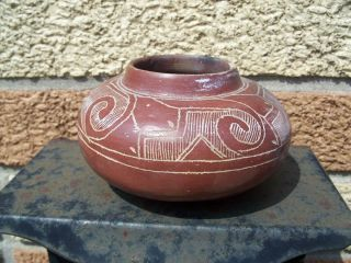 Mexico Aztec Design Footed Olla Vase Vessel Red Clay Carved Design Unknown photo