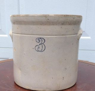 Antique 3 Gallon Primitive Stoneware Crock With Applied Handles photo