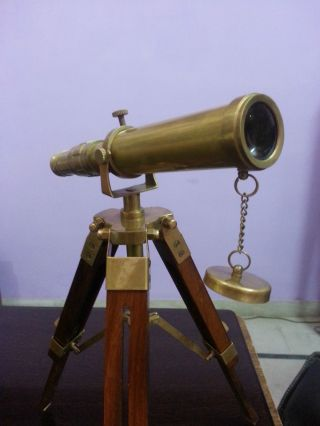 Antique Brass Telescope With Wooden Tripod Stand Nautical Collectible Desk Decor photo