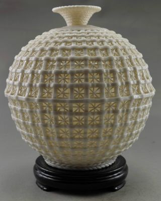 Collectible Decorated Handwork Dehua Porcelain Carved Hollowed Basket Big Vase photo