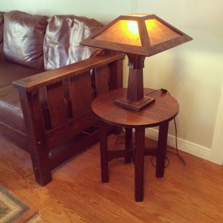 Gustav Stickley Mission Oak Arts & Crafts 603 Tabouret Table - Double Signed photo