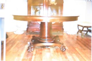 Antique French Empire Style Hand Carved Round Dinning Table,  Claw Legs 19c. photo