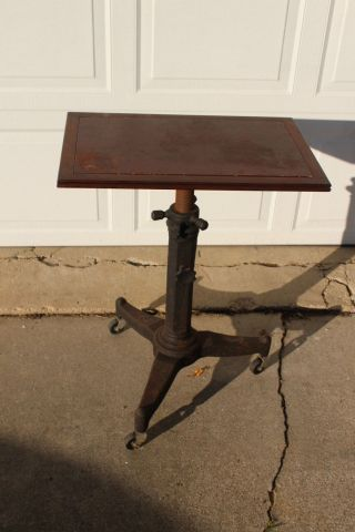 1920 ' S Karlo Adjustable Table Cast Iron Art Deco Industrial Typewriter Stand photo
