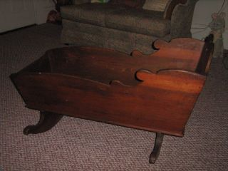 Vintage Wooden Baby Cradle,  Great Shape,  Homeade,  150 Years Old,  Walnut Or Oak photo