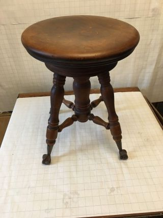Antique Talon And Glass Ball Spin Adjustable Piano Stool photo