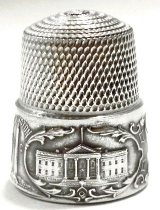 Rare Antique Victorian Simon Bros Sterling Silver Scenic Washington Thimble Sz10 photo