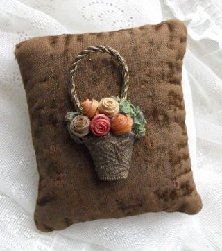 Antique Victorian Vintage Velvet Pin Cushion Metal Basket Of Roses Decoration photo
