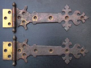 Victorian Ornate Brass Hinges Old Reclaimed Door Edwardian Antique Gothic Oak photo
