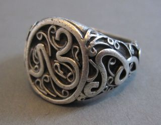 Antique Arabian Islamic Silver High Relief Scroll Design Ring Allah (s 9.  75) 17g photo