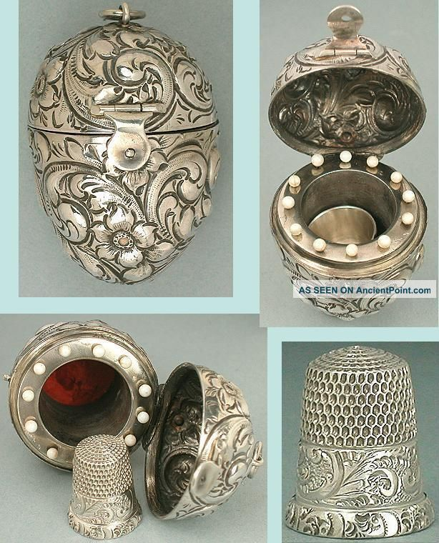 Rare Antique Sterling Silver Egg Etui & Thimble Circa 1900 Other Antique Sewing photo