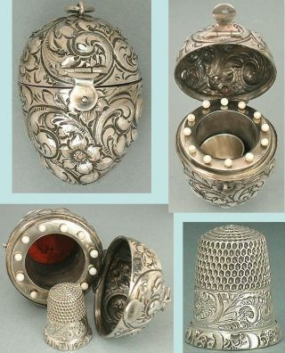 Rare Antique Sterling Silver Egg Etui & Thimble Circa 1900 photo