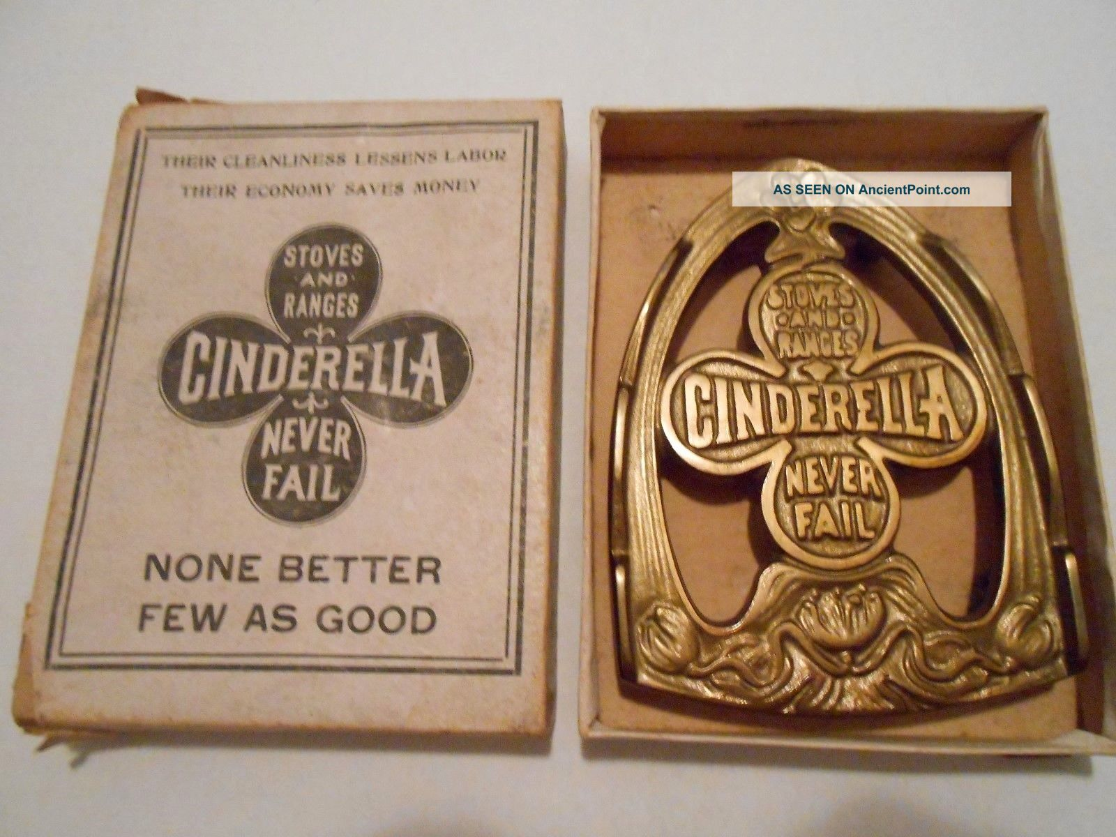 Antique Cinderella Stoves And Ranges Never Fail Advertising Iron Trivet Trivets photo