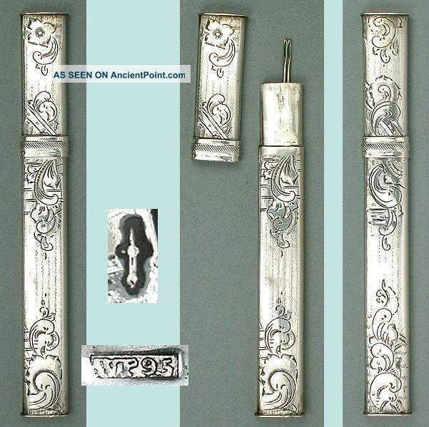 Antique Hand Engraved Solid Silver Needle Case Dutch Circa 1870 Needles & Cases photo