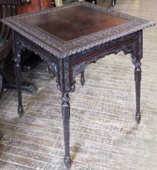 Rare Antique Victorian Old Moorish 1880s Hand Carved Lamp Table Stand photo