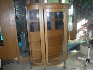 Antique Curved Glass Oak China Cabinet,  Local Only - Chicago Sw Suburb Burrridge photo