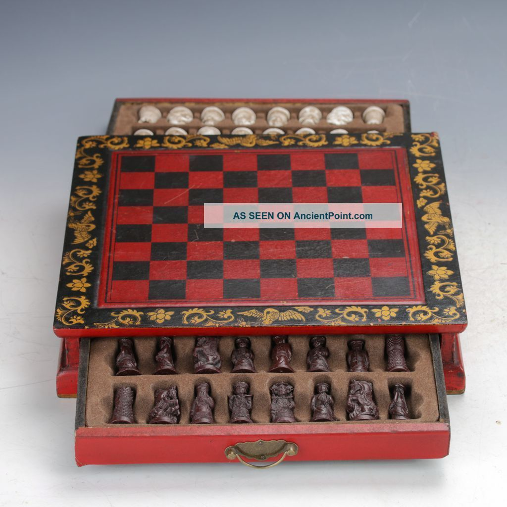 Chinese Antique Handwork Terracotta Warrior Motif Chess & Wooden Checkerboard Boxes photo