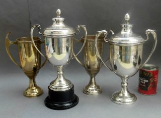 4 Large Vintage Silver Plated Trophy Cup ' S Engraved Girls School Basketball photo