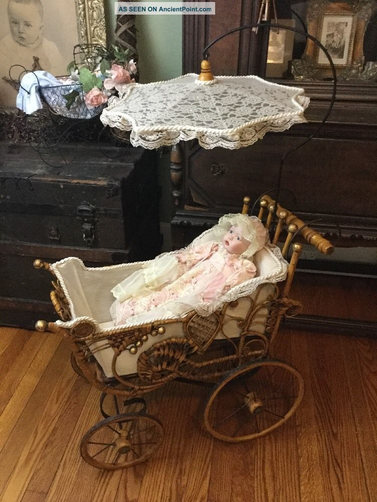 Antique Victorian Baby Doll Carriage Buggy,  Wicker,  Parasol W/ Ashton Drake Doll Baby Carriages & Buggies photo