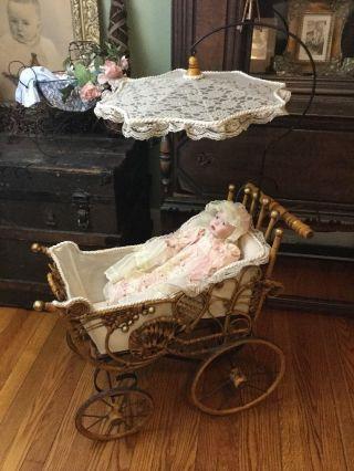 Antique Victorian Baby Doll Carriage Buggy,  Wicker,  Parasol W/ Ashton Drake Doll photo
