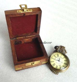 Collectible Antique Finish Brass Replica Marine & Maritime Pocket Watch W Box photo