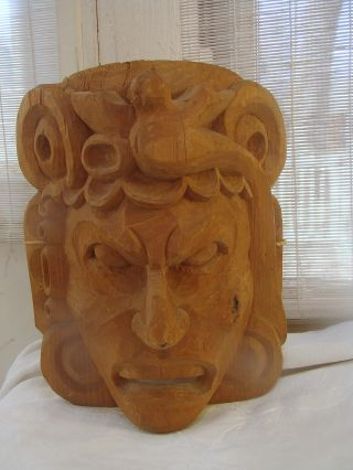 Vtg Mayan Tecun Uman Wood Carving Mask Tribal Folk Art Ceremonial Guatemalan photo