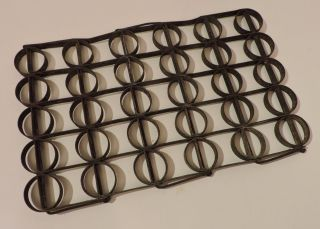 Rare 19th C Antique Hand Forged Metal Link Circular Pattern Trivet Mat photo