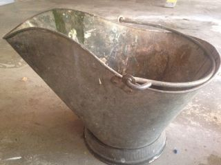 Antique Coal Scuttle Hod Bucket Primitive Metal Ash Bail Handle Flowers Vtg Pail photo