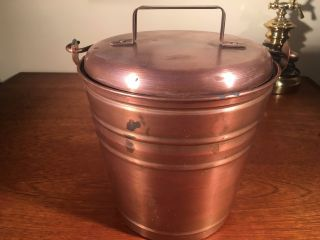 1 Smith & Hawken Hearthside Fireplace Ash Bucket Copper W Patina photo