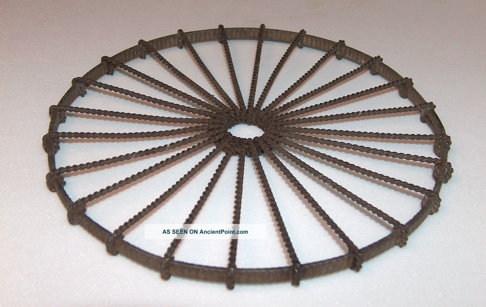 Antique Early American Hand Made Wheel Form Twisted Wire Hot Plate Trivet 6 Inch Trivets photo