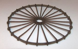 Antique Early American Hand Made Wheel Form Twisted Wire Hot Plate Trivet 6 Inch photo