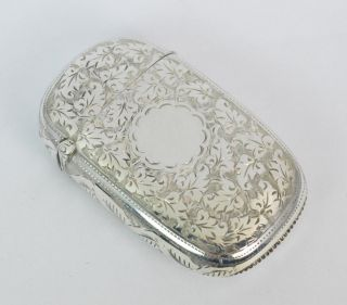 Large Victorian Solid Silver Hand Engraved Vesta Case photo