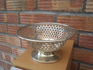 Antique Silver Plated Bowl Basket With Beehive Type Design Marked Ko13 23 photo