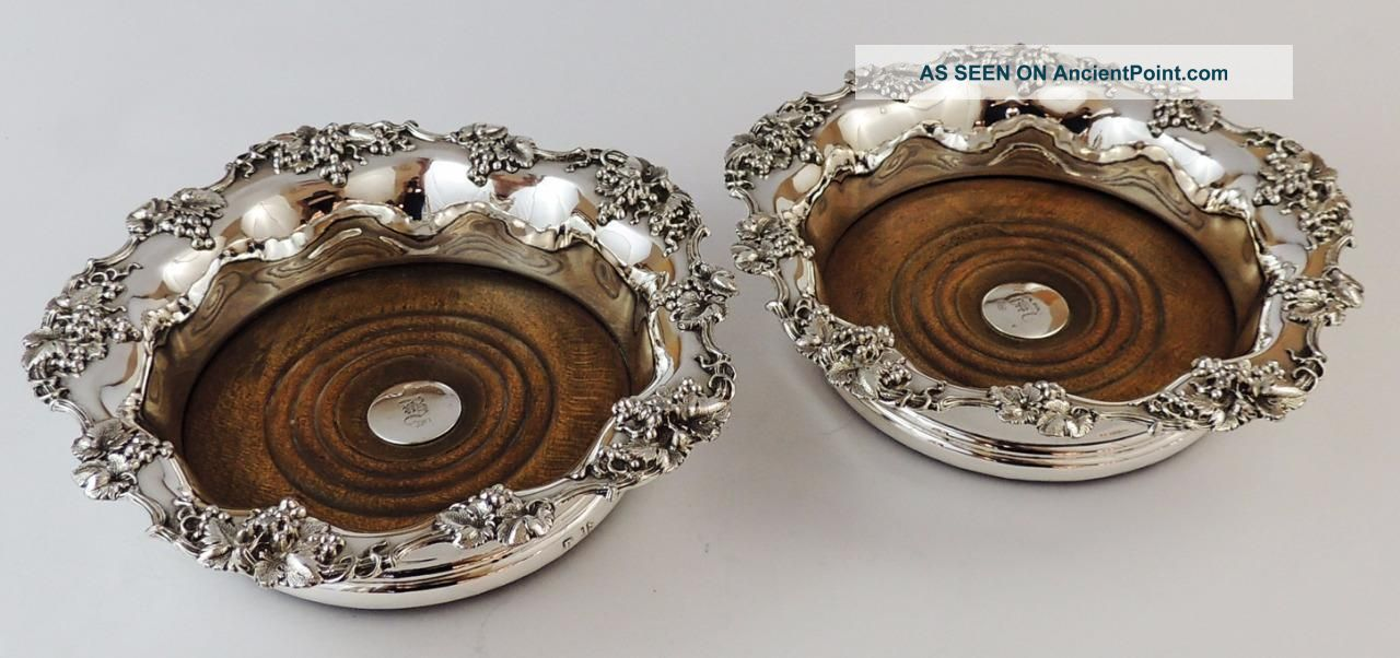 Victorian Pair Old Sheffield Plate Wine Coasters Silver Buttons 1842 Dishes & Coasters photo