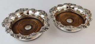 Victorian Pair Old Sheffield Plate Wine Coasters Silver Buttons 1842 photo