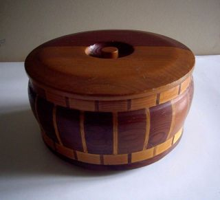 Wooden Lidded Nut Bowl With Nut Cracker & Pick From Calif.  Redwood Forests photo