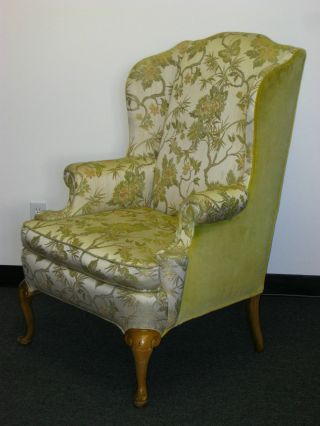 Vintage French Provincial Wingback Arm Chair Floral & Yellow Velvet Fabric photo