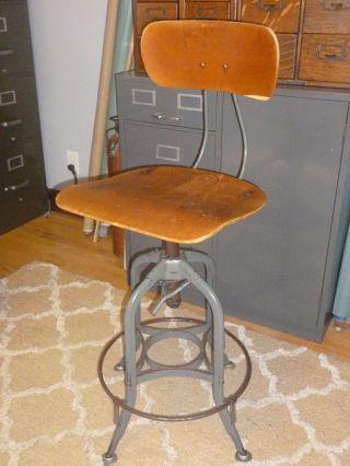 Vintage Toledo Uhl Metal/wood Swivel Drafting Industrial Chair Stool photo