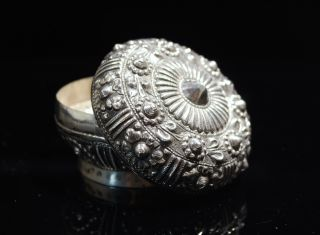 Chinese Tibetan Ceremonial Sterling Silver Repousse Round Box Circa 1920s photo