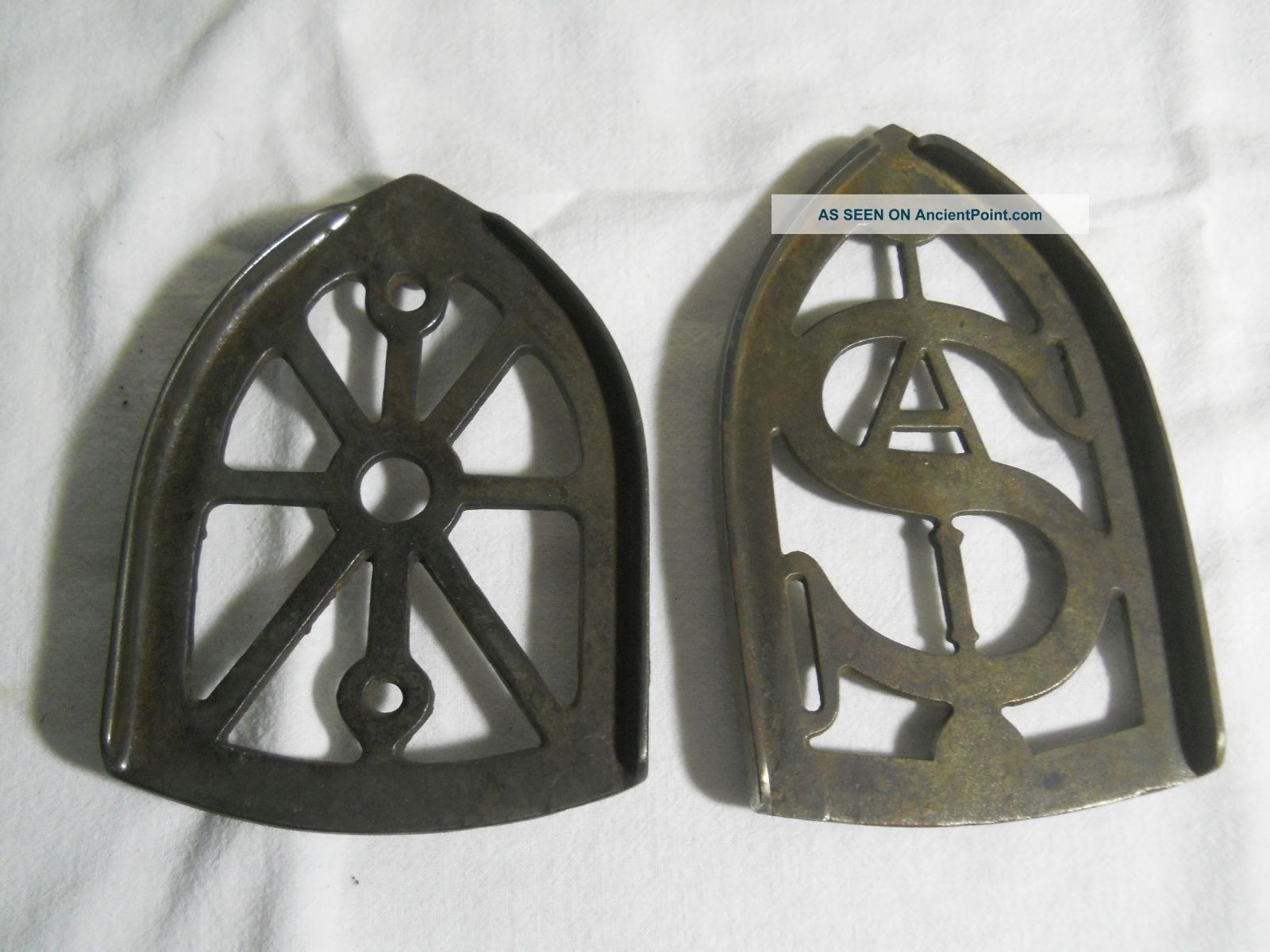 2 Antique Cast Iron Clothes Iron Trivets One Marked Sa Trivets photo